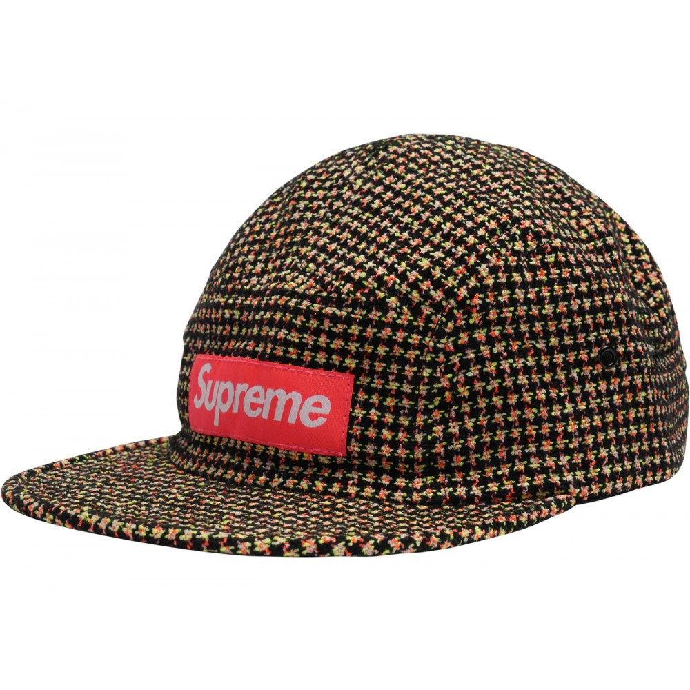FW18 Supreme Boucl Houndstooth Camp Cap Neon