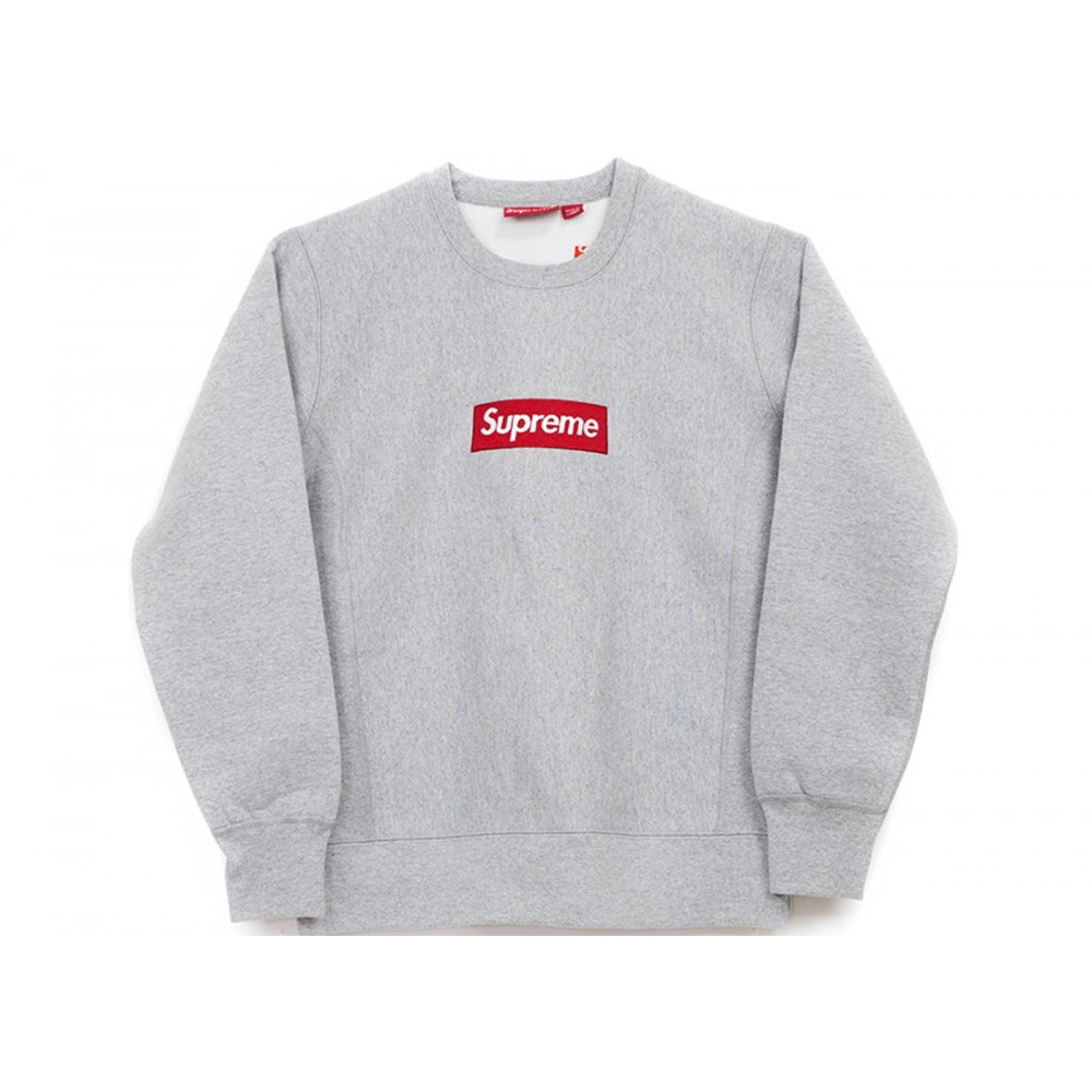 FW18 Supreme Box Logo Crewneck Heather Grey
