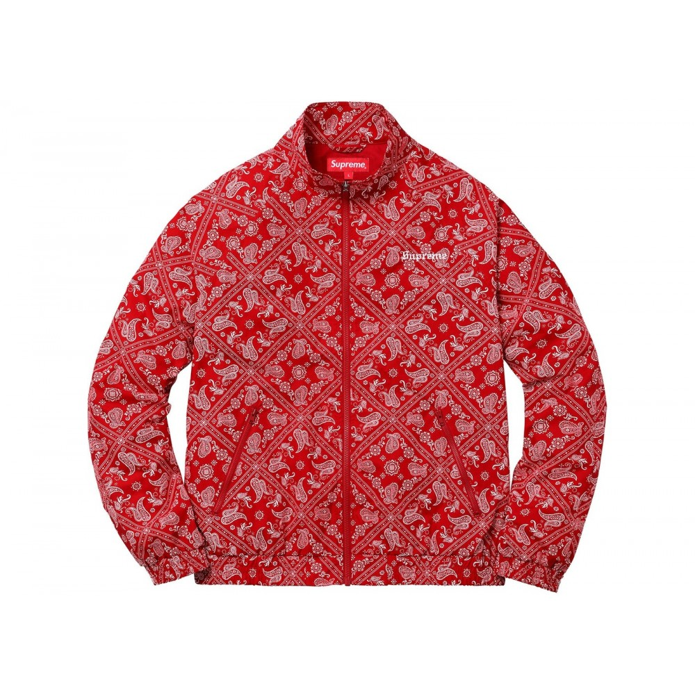 FW18 Supreme Bandana Track Jacket Red