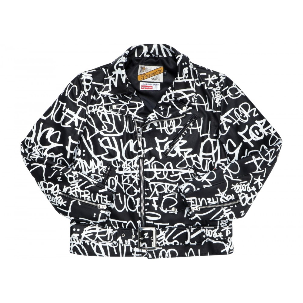 FW18 Supreme Comme des Garons SHIRT Schott Painted Perfecto Leather Jacket Black