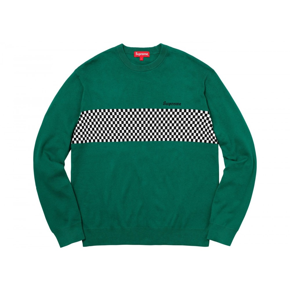 FW18 Supreme Checkered Panel Crewneck Sweater Forest Green