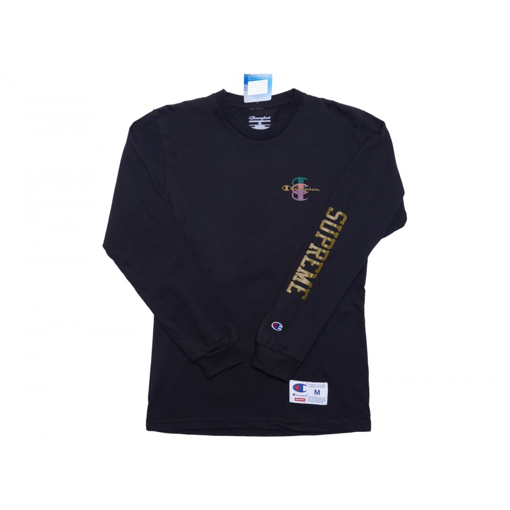 FW18 Supreme Champion Stacked C L/S Tee Black