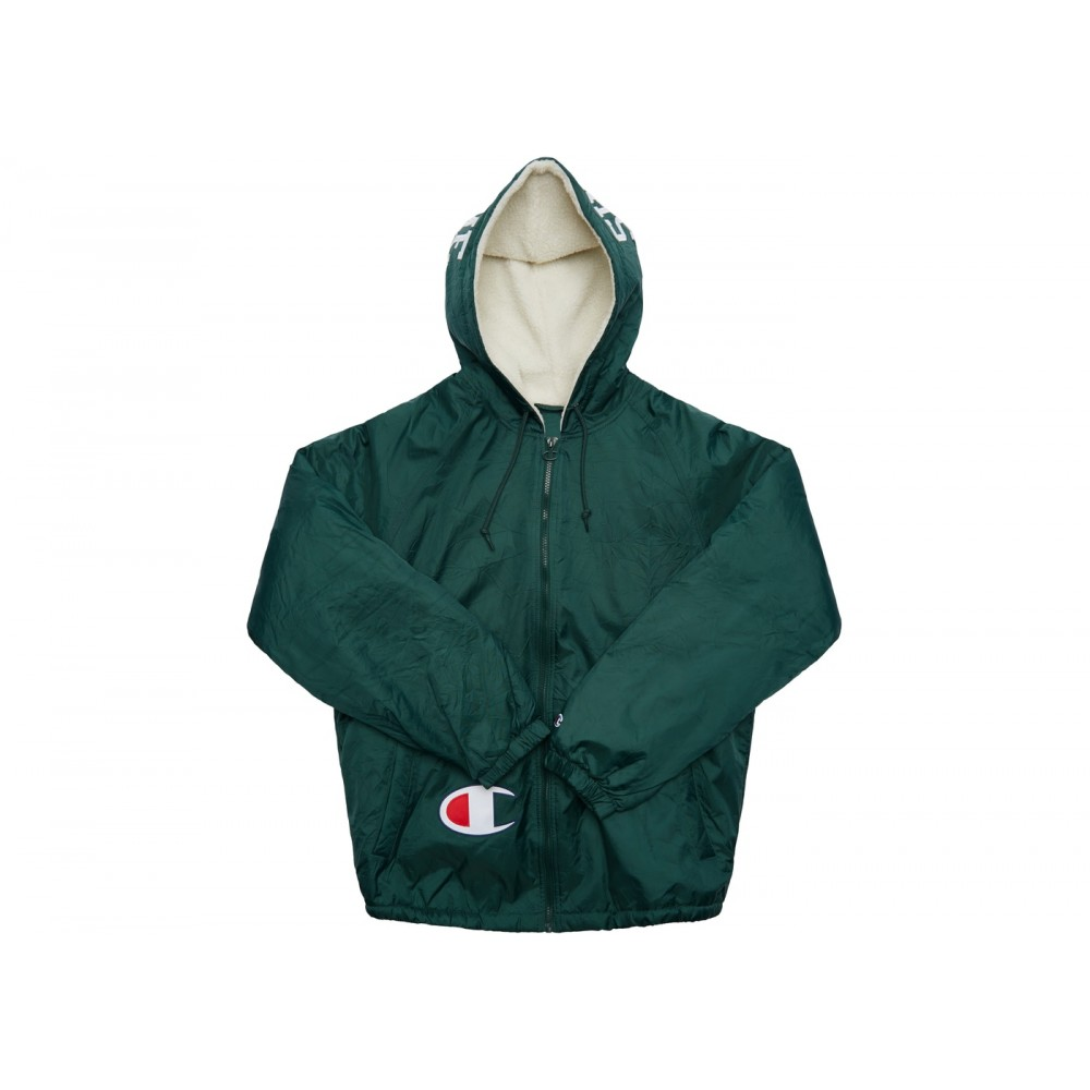 FW18 Supreme Champion Sherpa Lined Hooded Jacket Dark Green