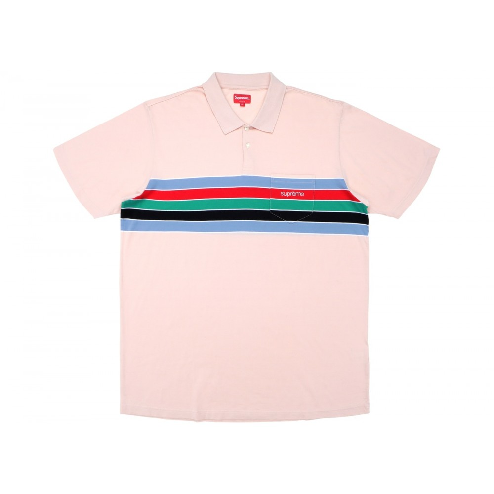 FW18 Supreme Chest Stripes Polo Light Pink