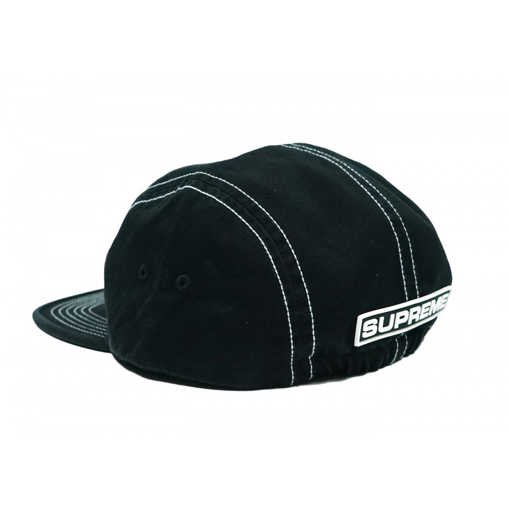 FW18 Supreme Fitted Rear Patch Camp Cap Black