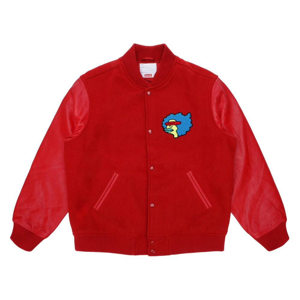 FW18 Supreme Gonz Ramm Varsity Jacket Red