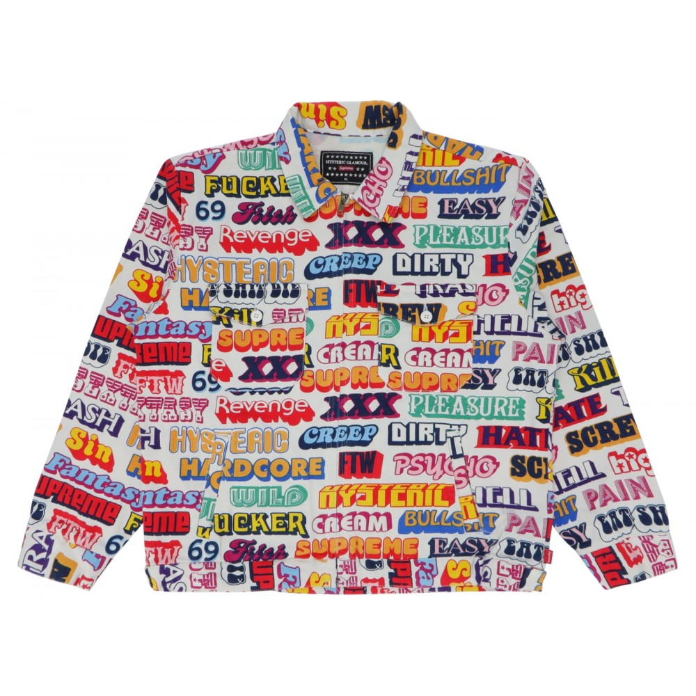 FW18 Supreme Hysteric Glamour Text Work Jacket White
