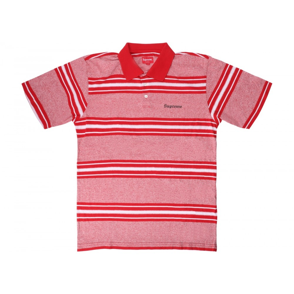 FW18 Supreme Heather Stripe Polo Red