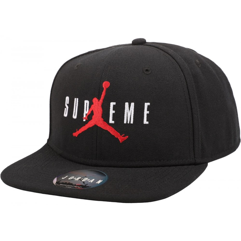 FW18 Supreme Jordan 6 Panel Hat Black