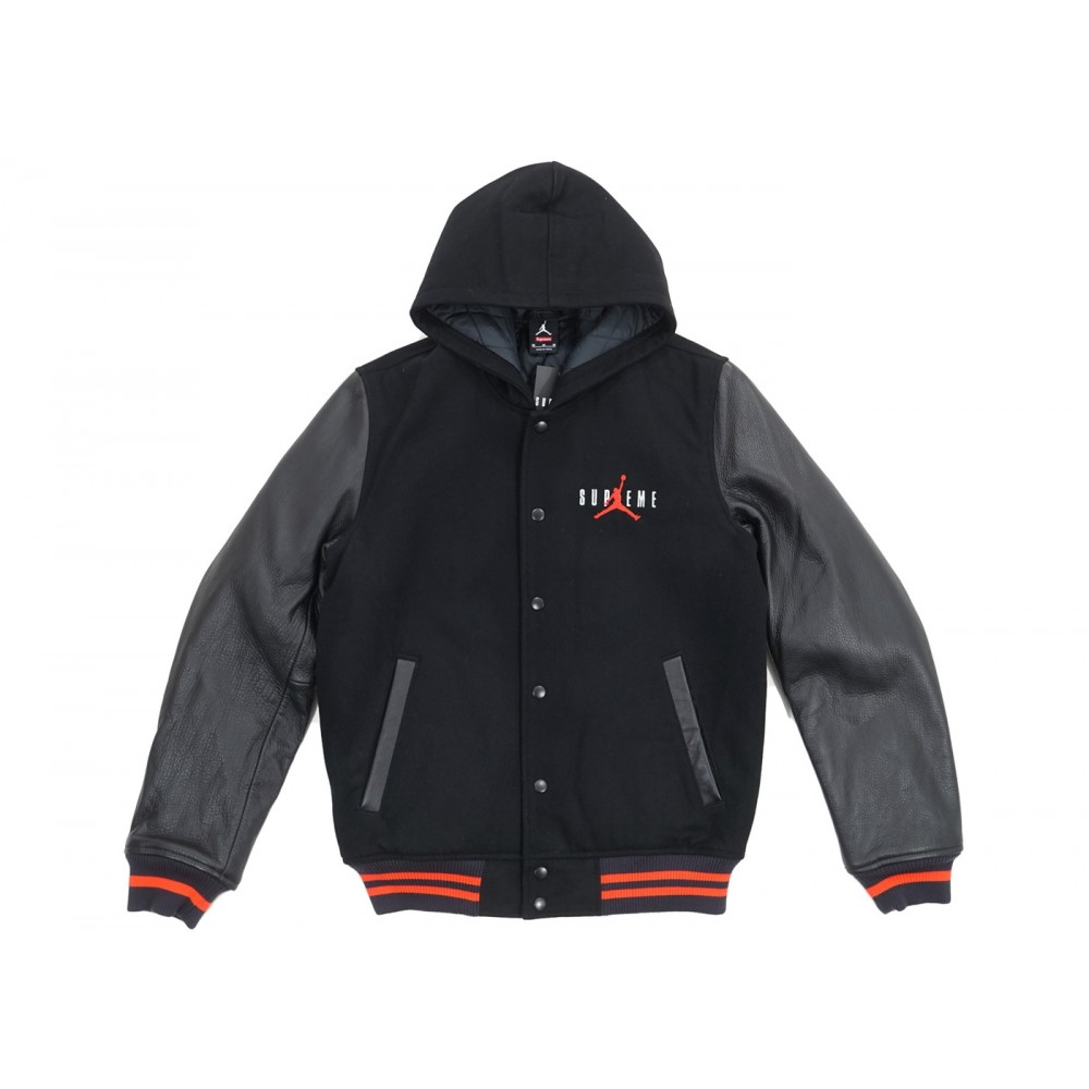 FW18 Supreme Jordan Hooded Varsity Jacket Black