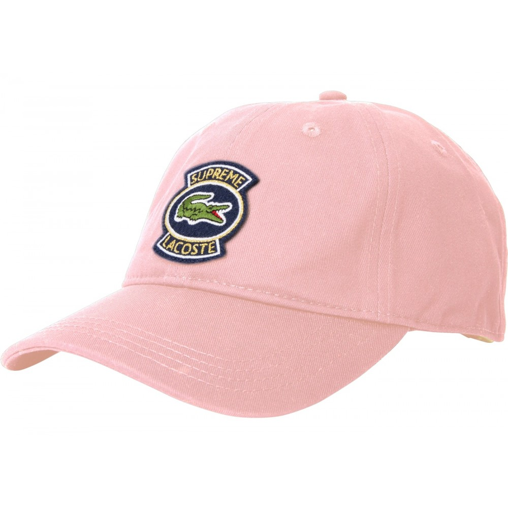 FW18 Supreme LACOSTE Twill 6-Panel Pink