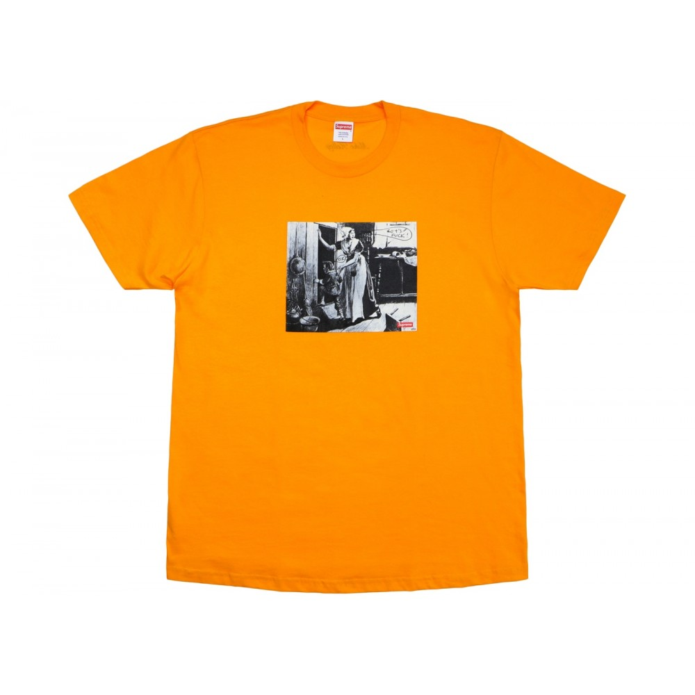FW18 Supreme Mike Kelley Hiding From Indians Tee Bright Orange