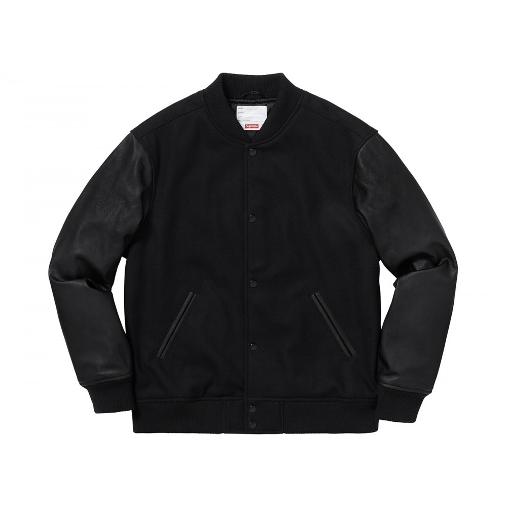 FW18 Supreme Motion Logo Varsity Jacket Black