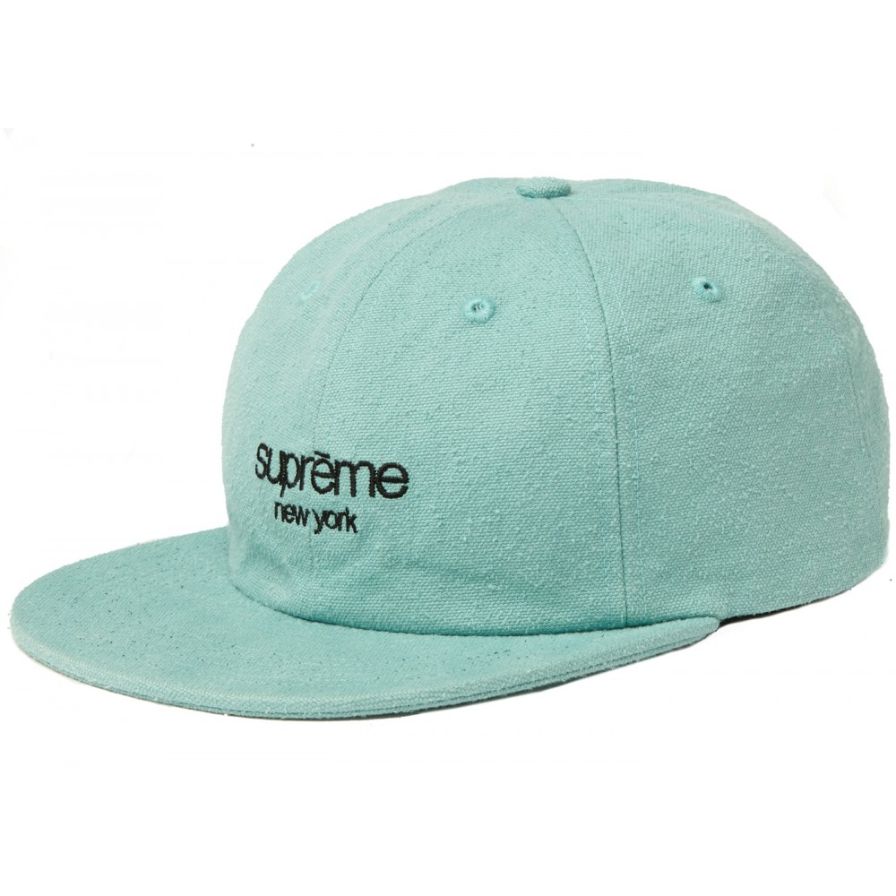 FW18 Supreme Napped Canvas Classic Logo 6-Panel Dusty Teal