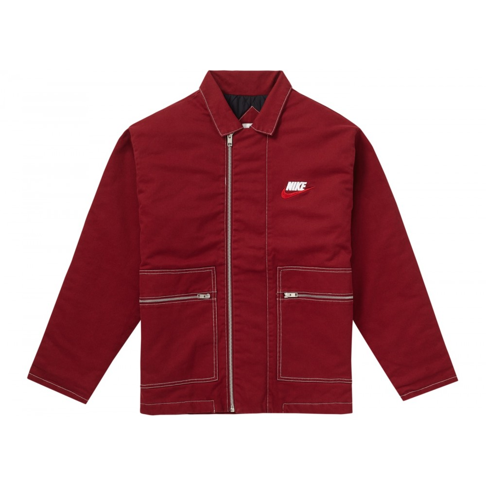 FW18 Supreme Nike Double Zip Quilted Work Jacket Burgundy