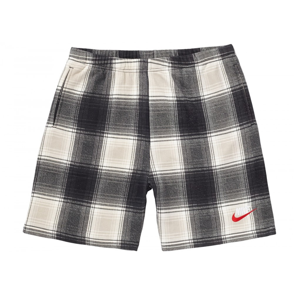 FW18 Supreme Nike Plaid Sweatshort Black