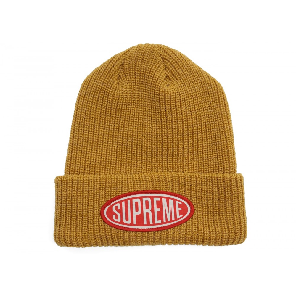 FW18 Supreme Oval Patch Beanie Gold