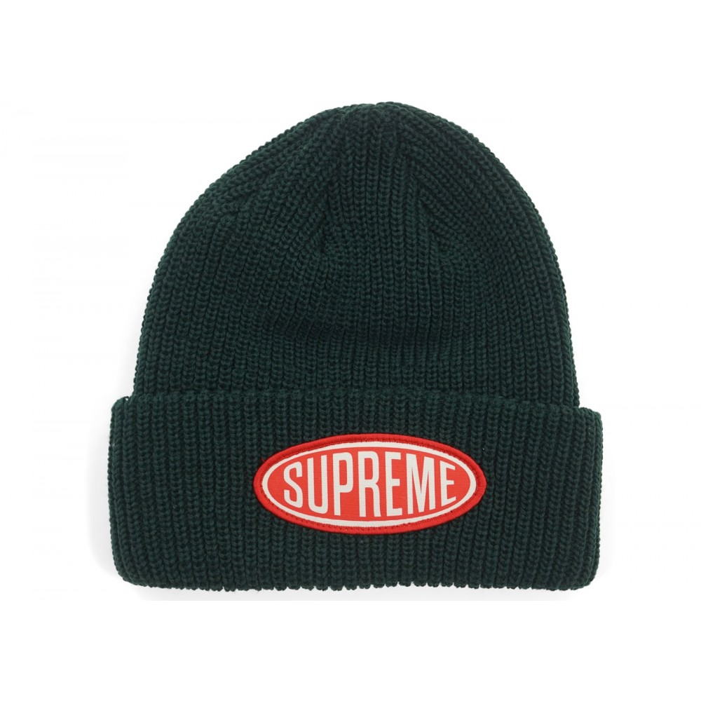 FW18 Supreme Oval Patch Beanie Green