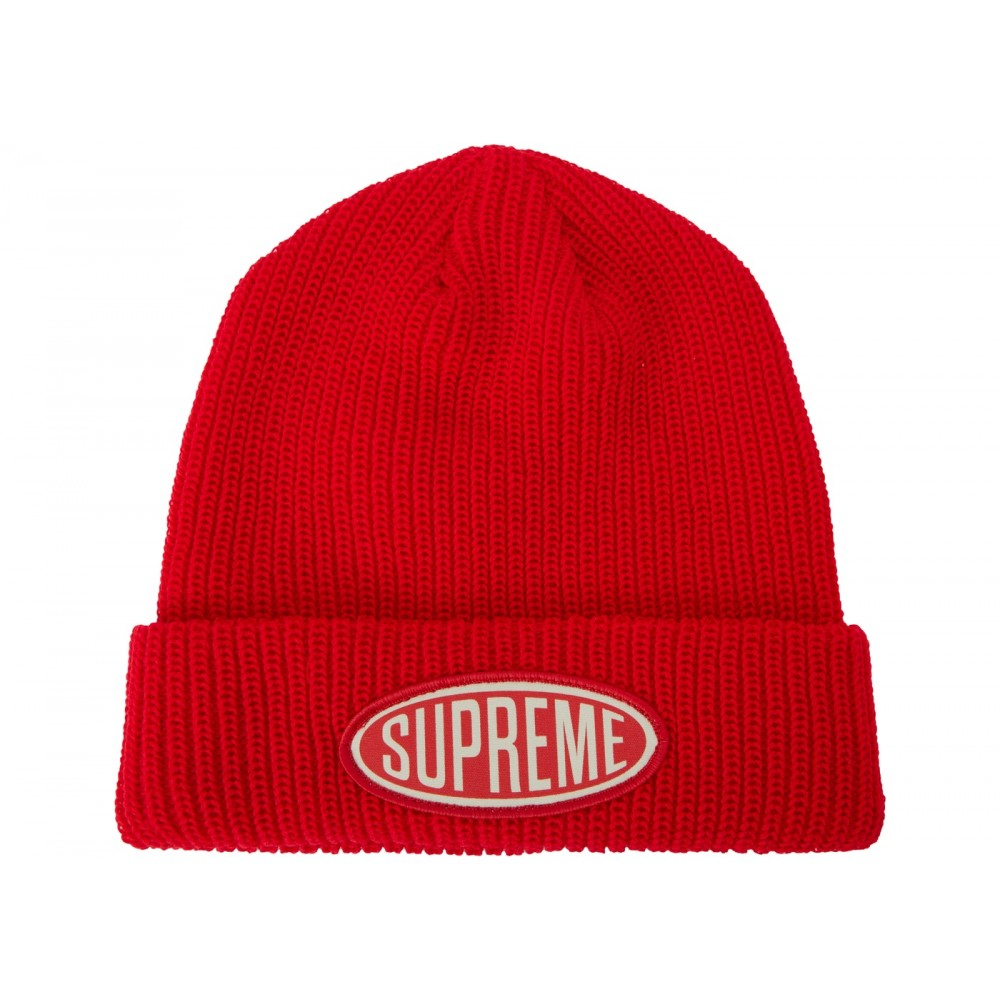 FW18 Supreme Oval Patch Beanie Red
