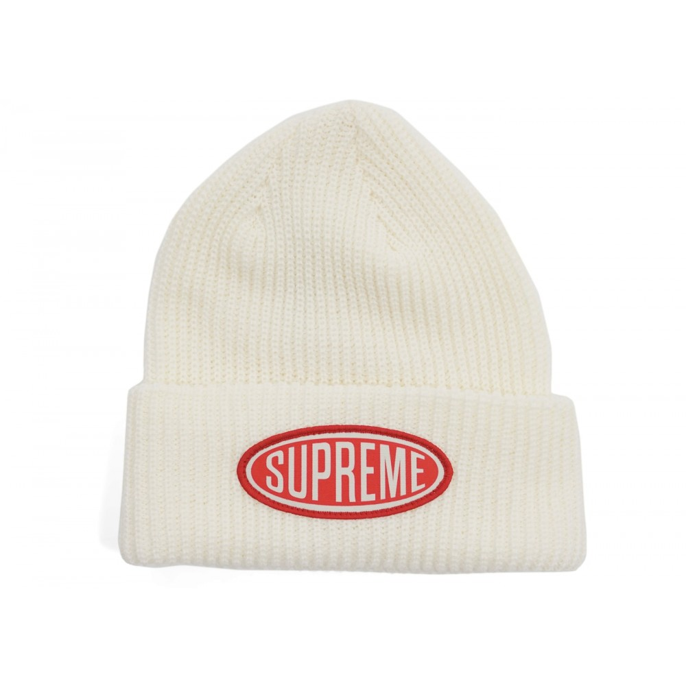 FW18 Supreme Oval Patch Beanie White