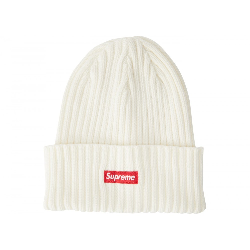 FW18 Supreme Overdyed Ribbed Beanie (SS18) Washed Ivory