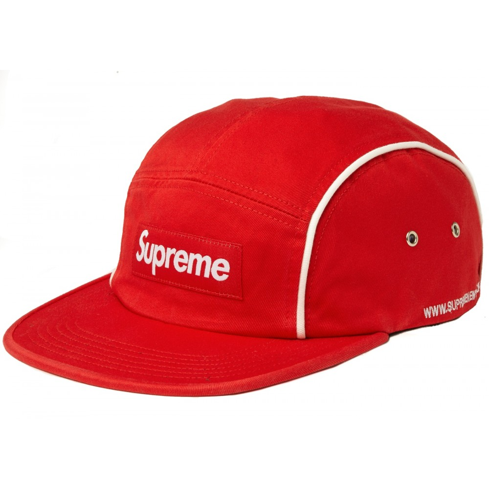 FW18 Supreme Piping Camp Cap Red