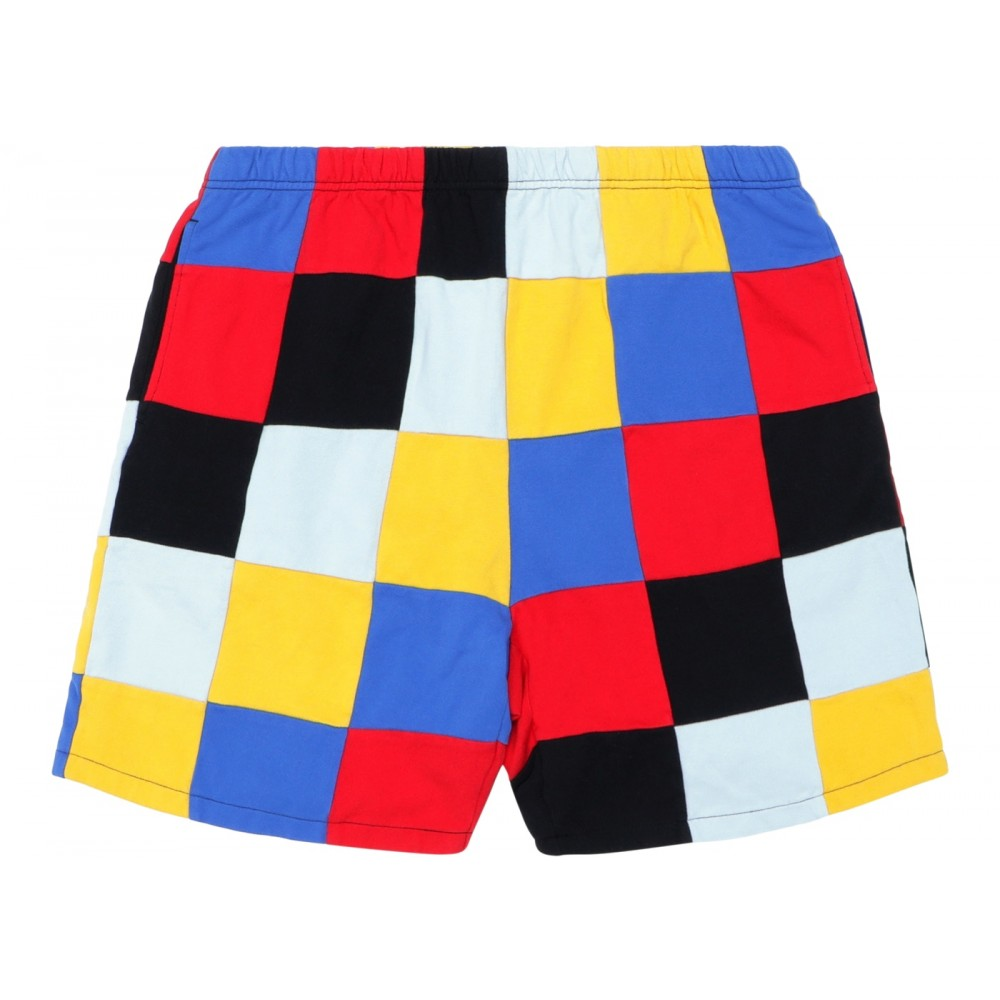 FW18 Supreme Patchwork Pique Short Red/Yellow/Blue