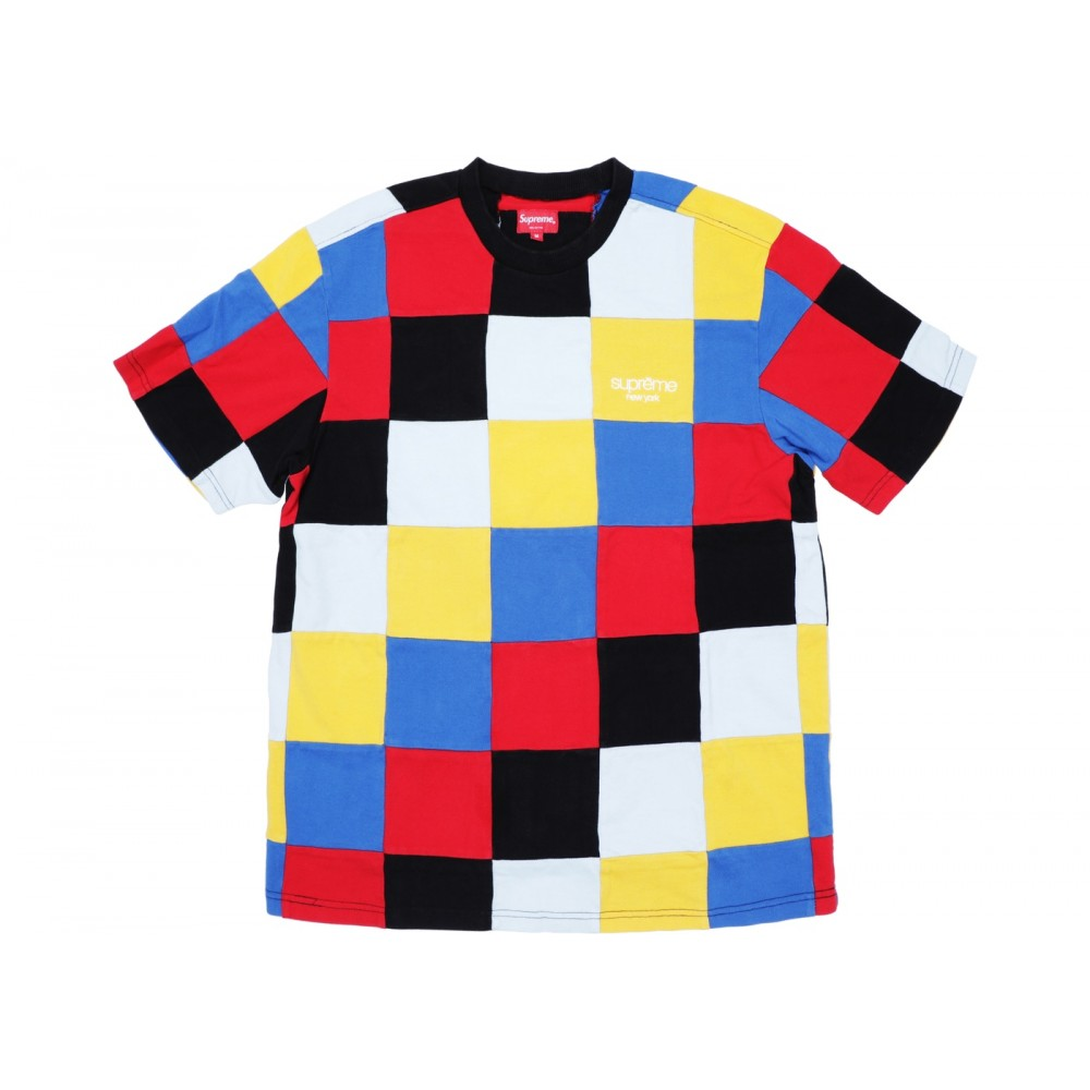 FW18 Supreme Patchwork Pique Tee Red/Yellow/Blue