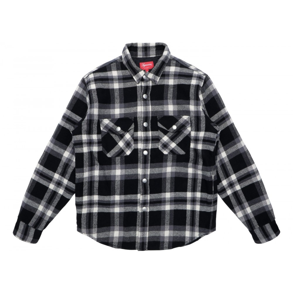 FW18 Supreme Quilted Arc Logo Flannel Shirt Black