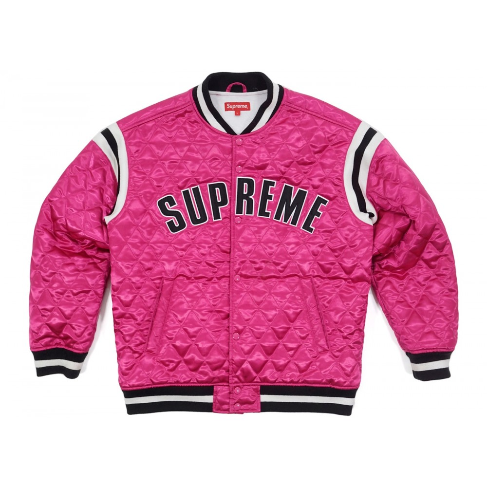 FW18 Supreme Quilted Satin Varsity Jacket Magenta