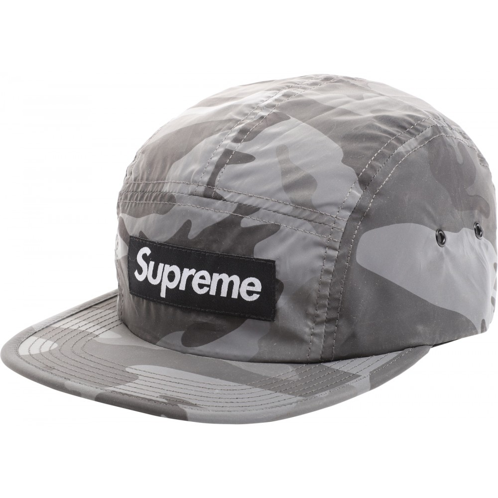 FW18 Supreme Reflective Camo Camp Cap Grey