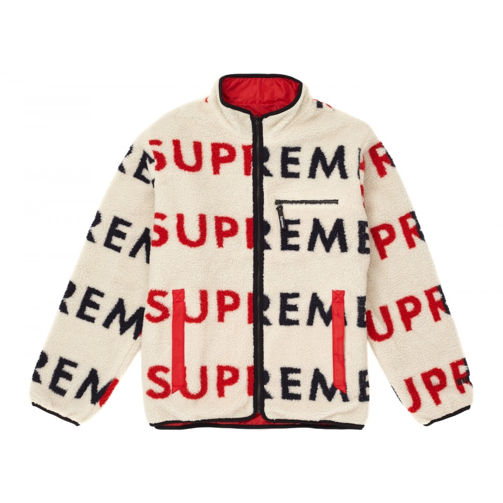 FW18 Supreme Reversible Logo Fleece Jacket Natural