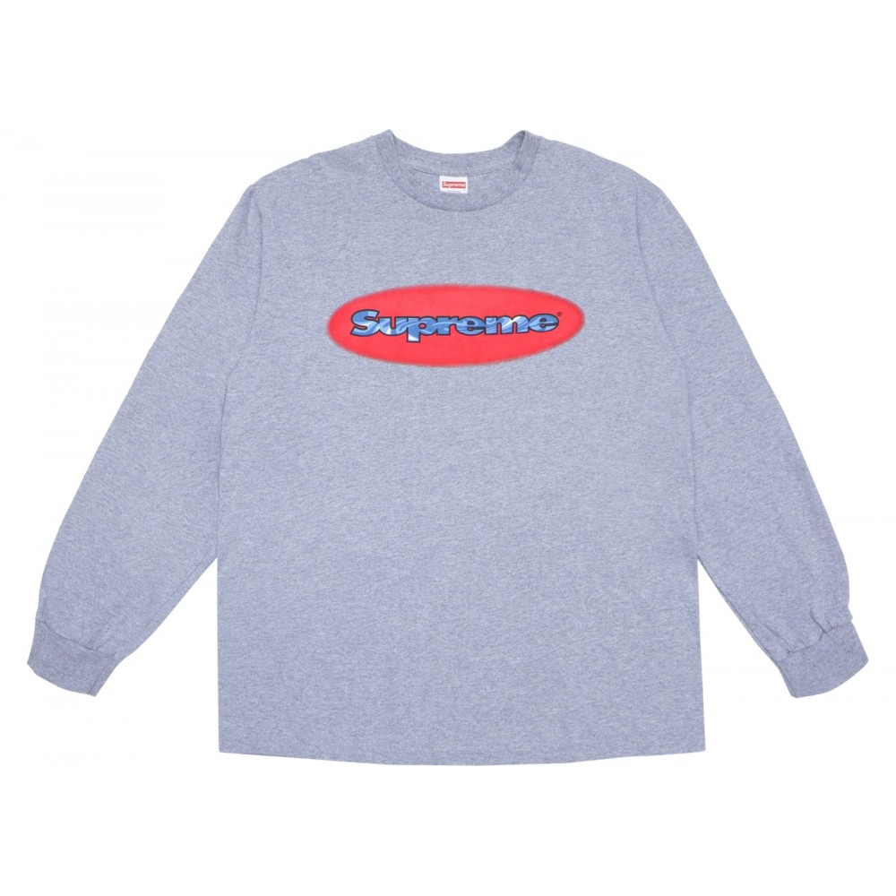 FW18 Supreme Ripple LS Tee Heather Grey