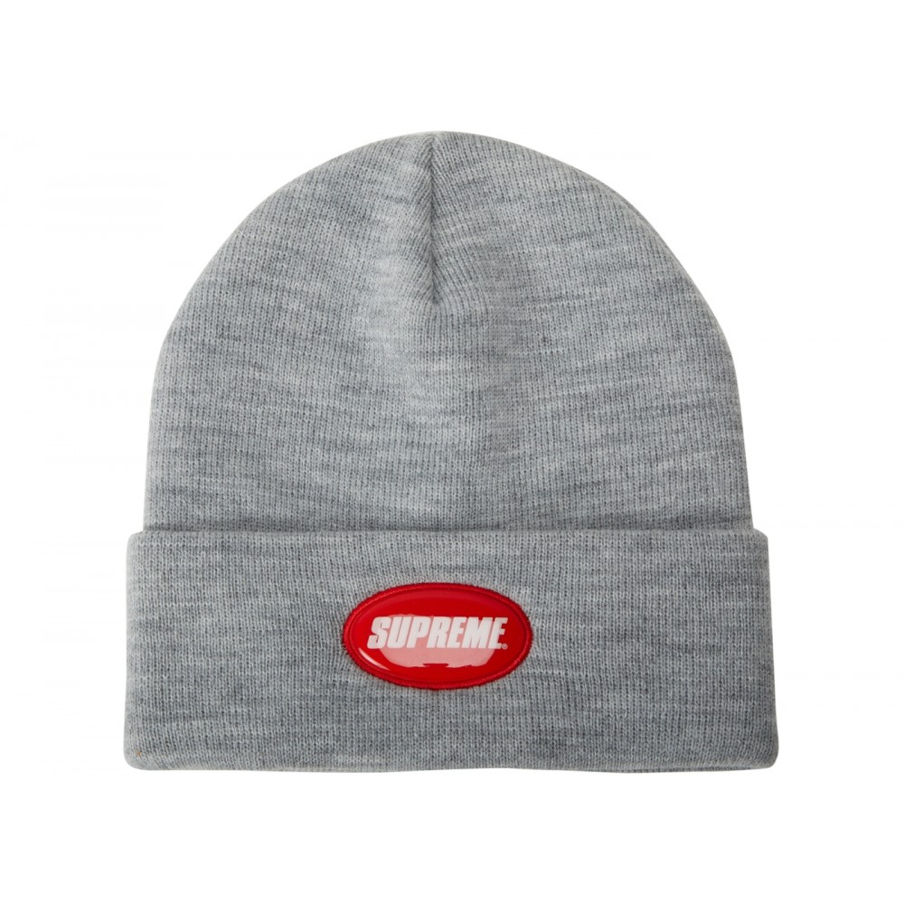 FW18 Supreme Rubber Patch Beanie Heather Grey