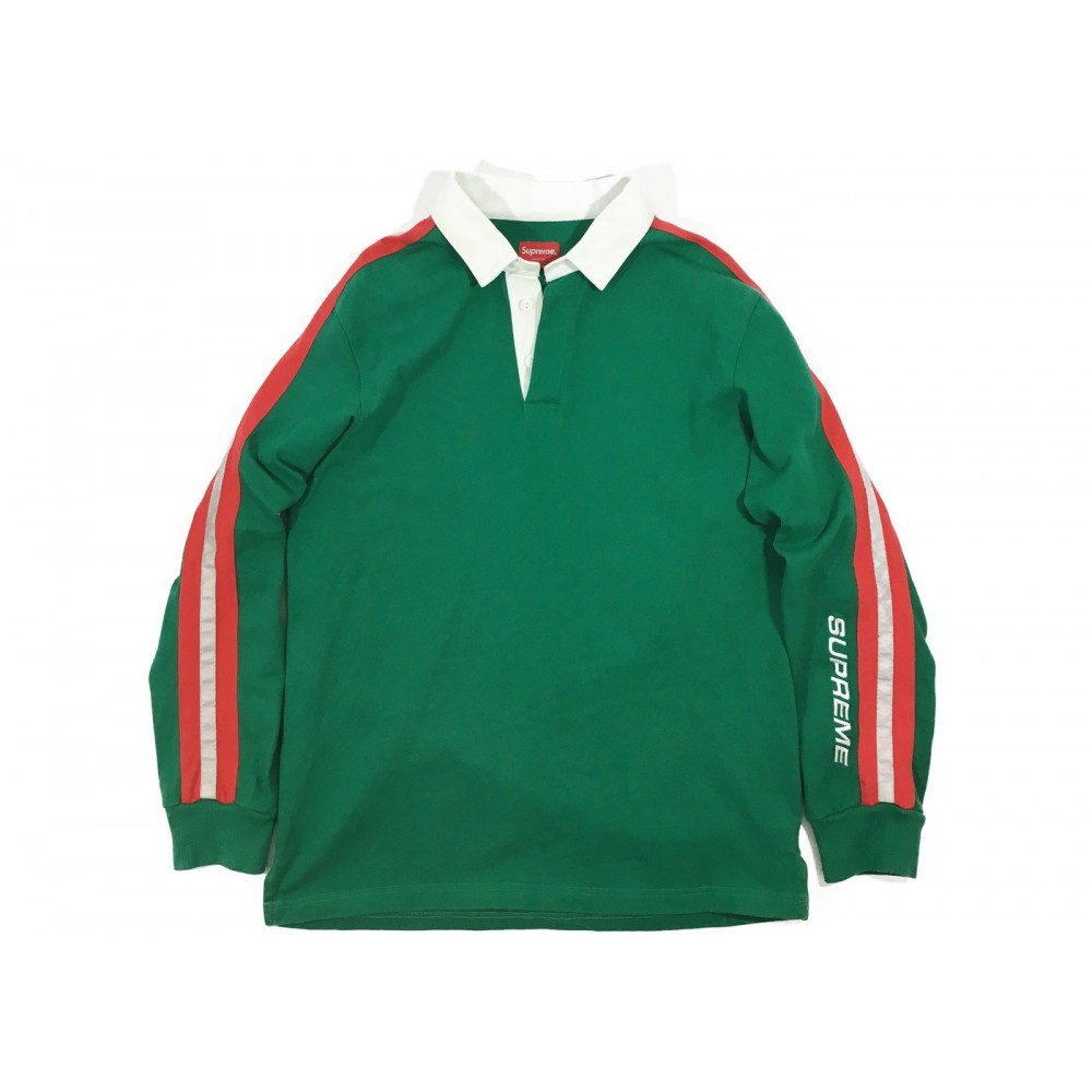 FW18 Supreme Reflective Sleeve Stripe Rugby Green