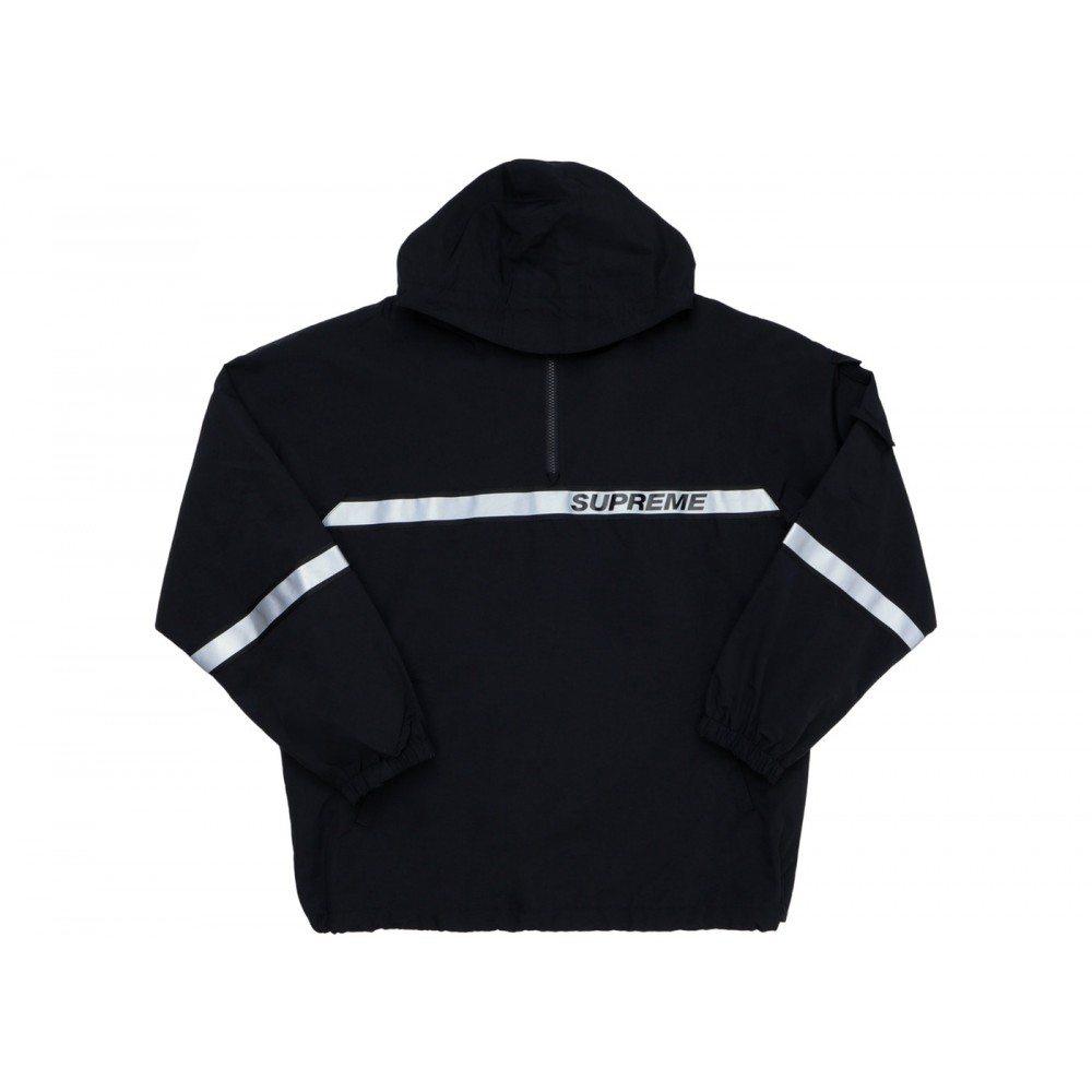 FW18 Supreme Reflective Taping Hooded Pullover Black