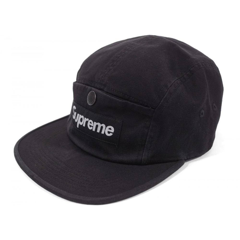 FW18 Supreme Snap Button Pocket Camp Cap Black