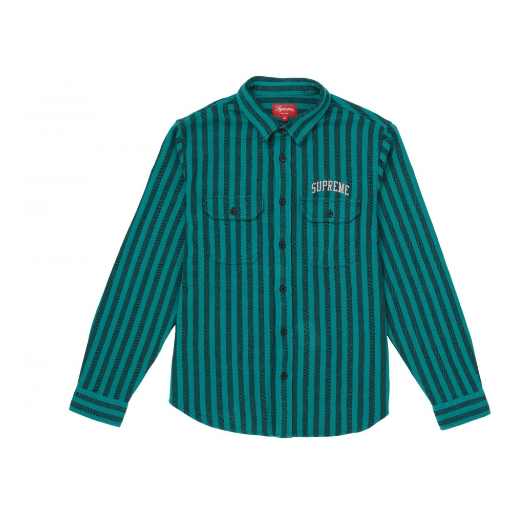 FW18 Supreme Stripe Heavyweight Flannel Shirt Teal