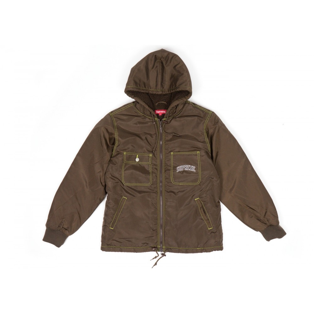 FW18 Supreme Sherpa Lined Nylon Zip Up Jacket Brown
