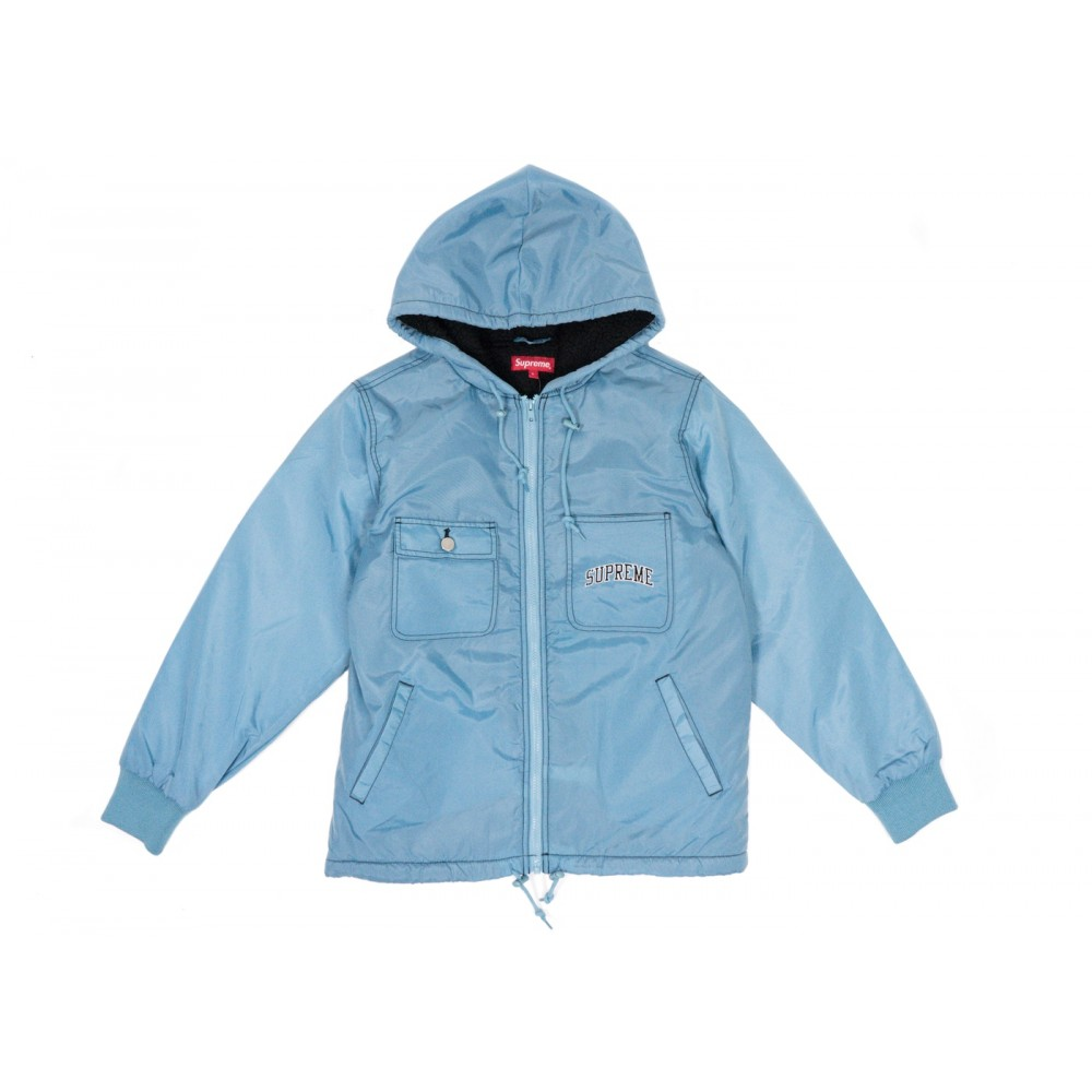 FW18 Supreme Sherpa Lined Nylon Zip Up Jacket Dusty Blue