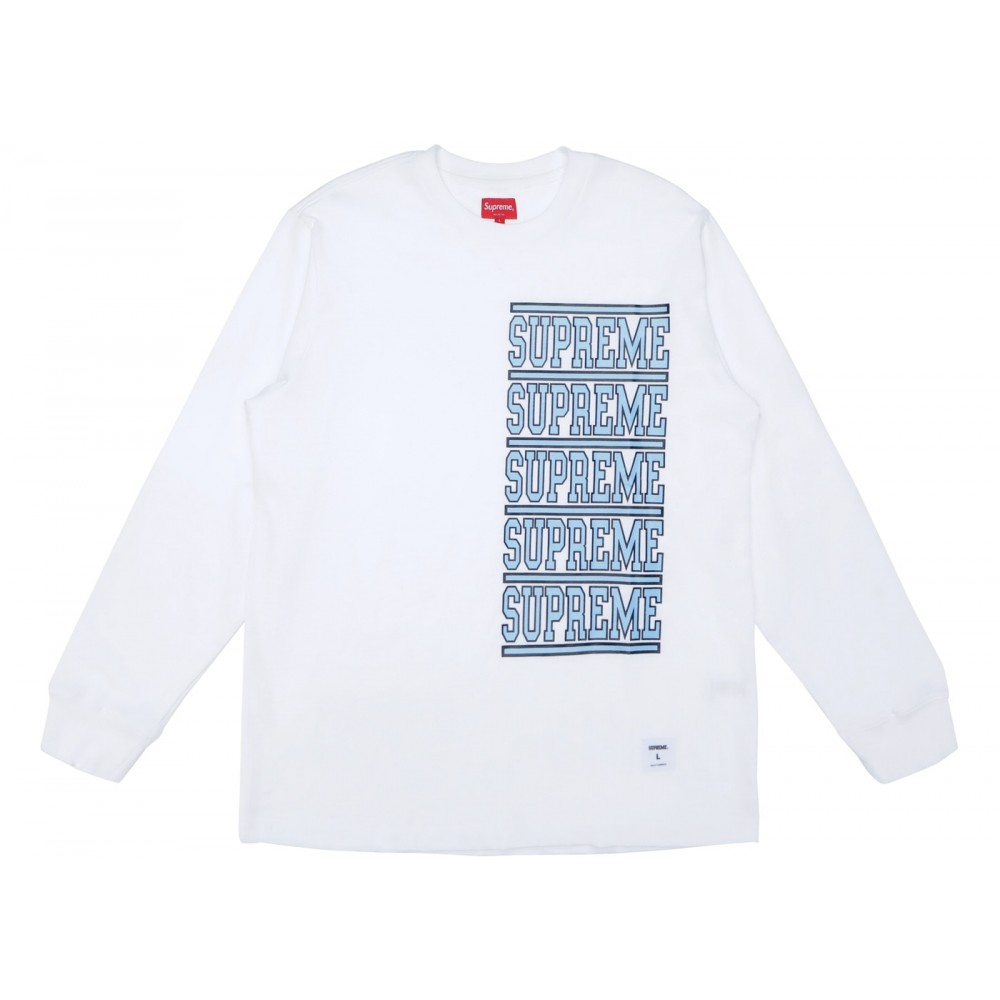 FW18 Supreme Stacked L/S Top White