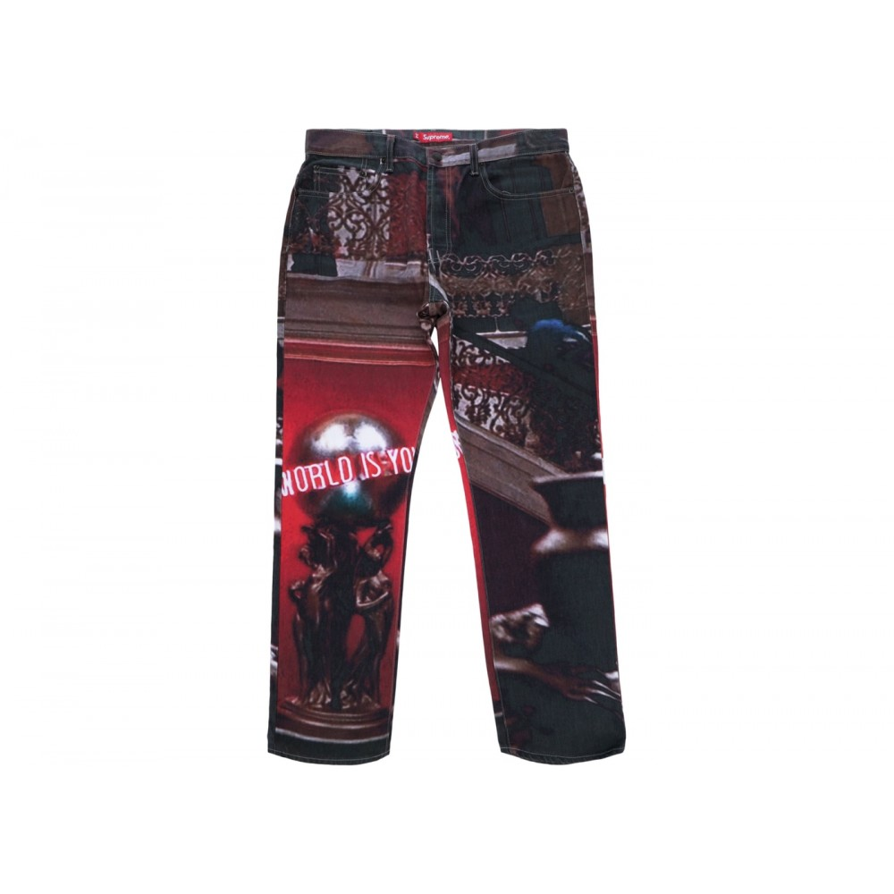 FW18 Supreme Scarface The World Is Yours 5-Pocket Jeans Multi