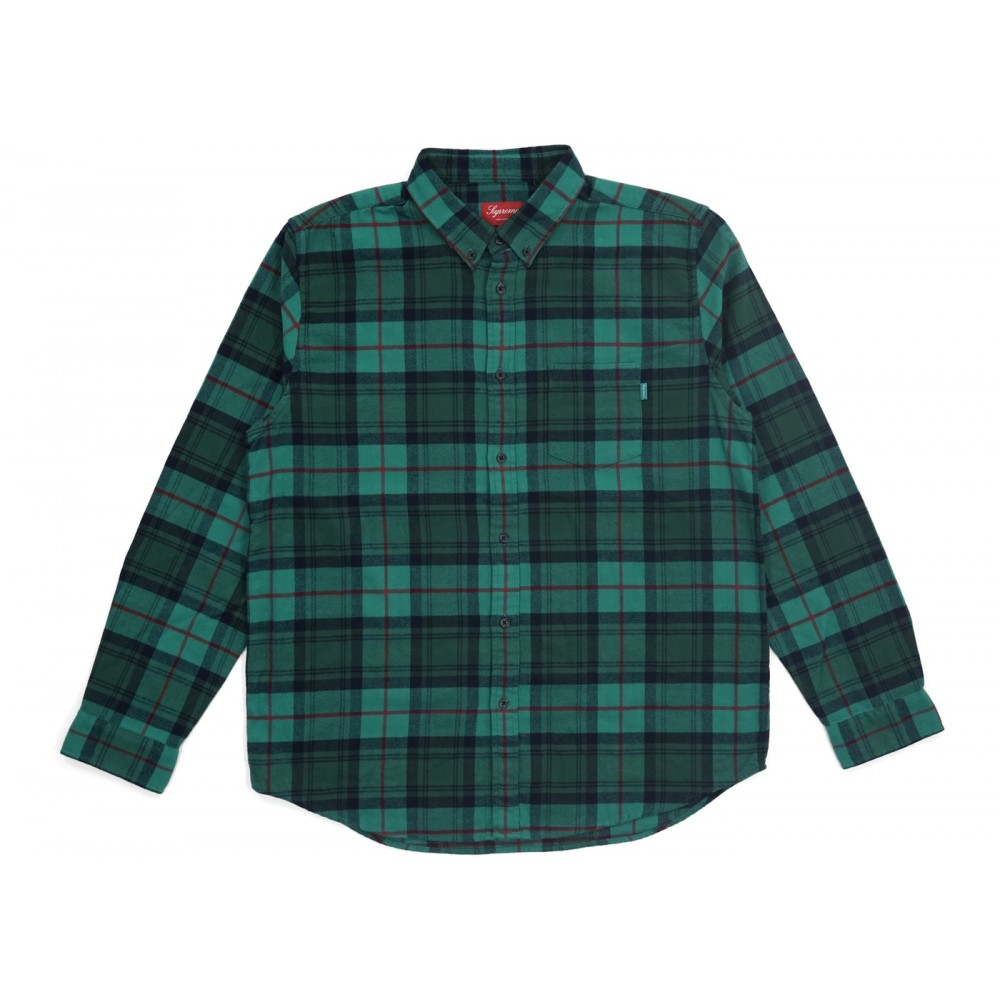 FW18 Supreme Tartan L/S Flannel Shirt Green