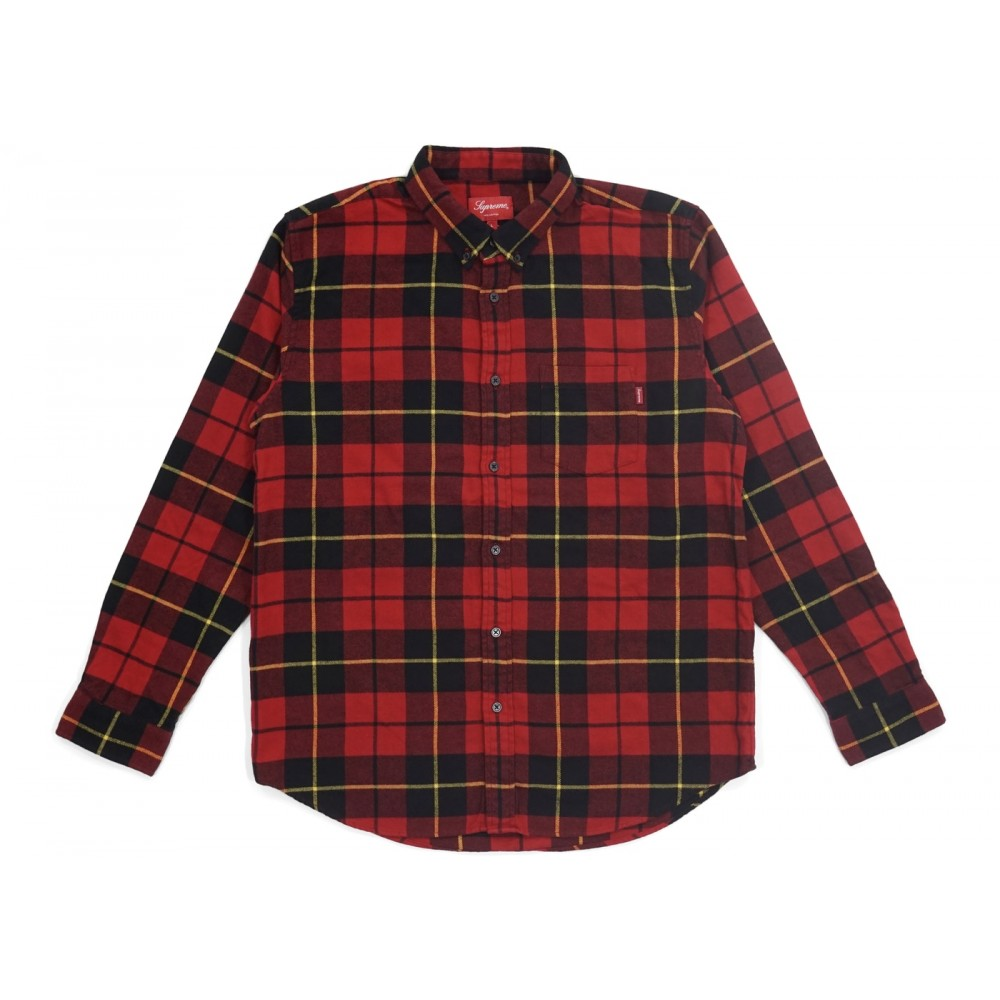 FW18 Supreme Tartan L/S Flannel Shirt Red