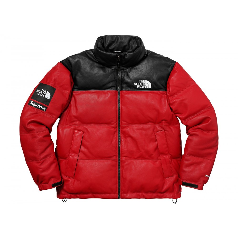 FW18 Supreme The North Face Leather Nuptse Jacket Red