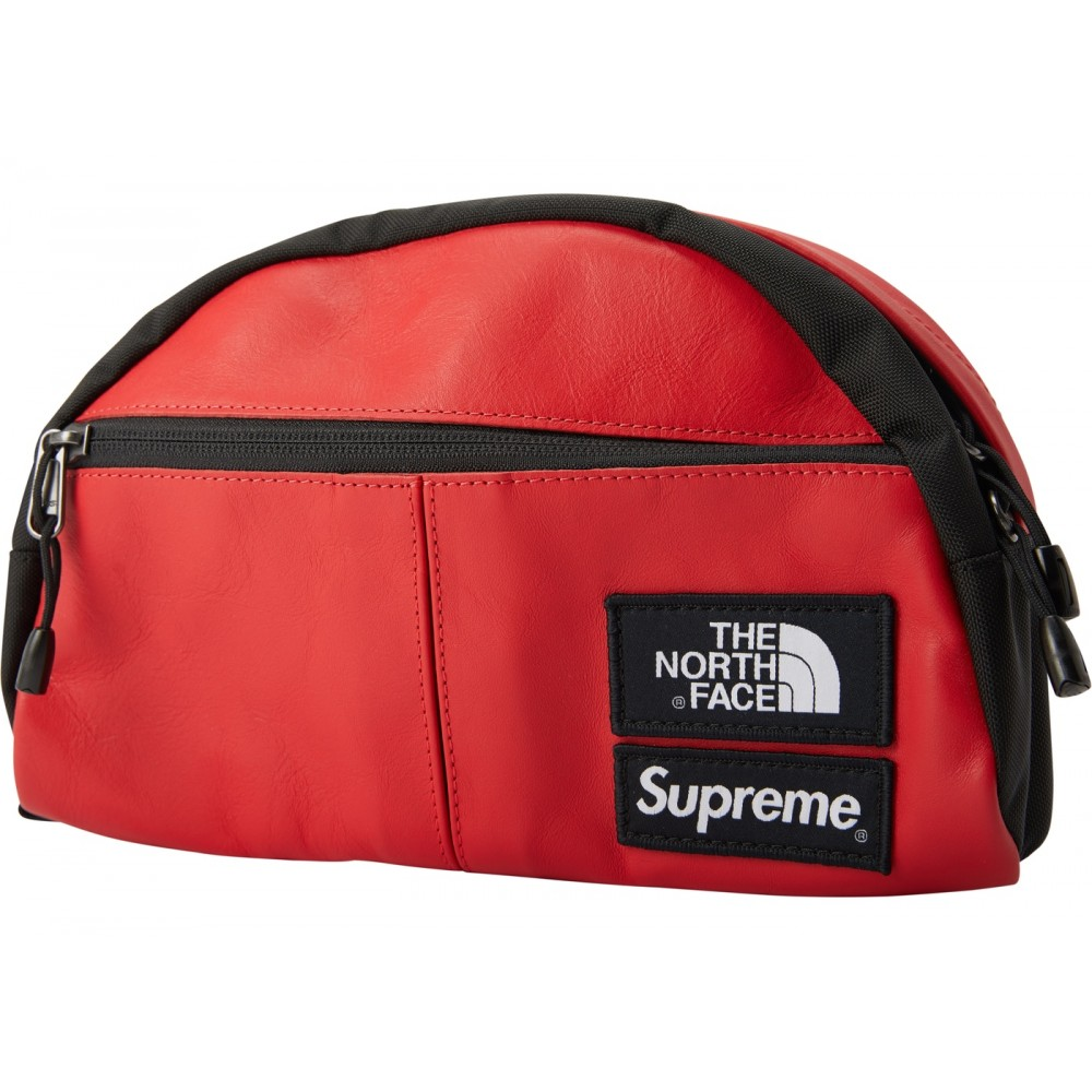 FW18 Supreme The North Face Leather Roo II Lumbar Pack Red