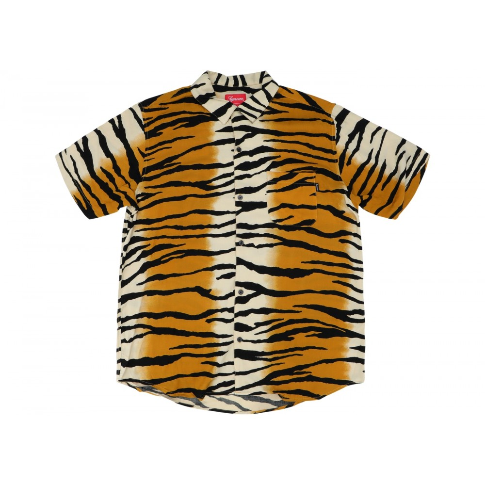 FW18 Supreme Tiger Stripe Rayon Shirt Gold