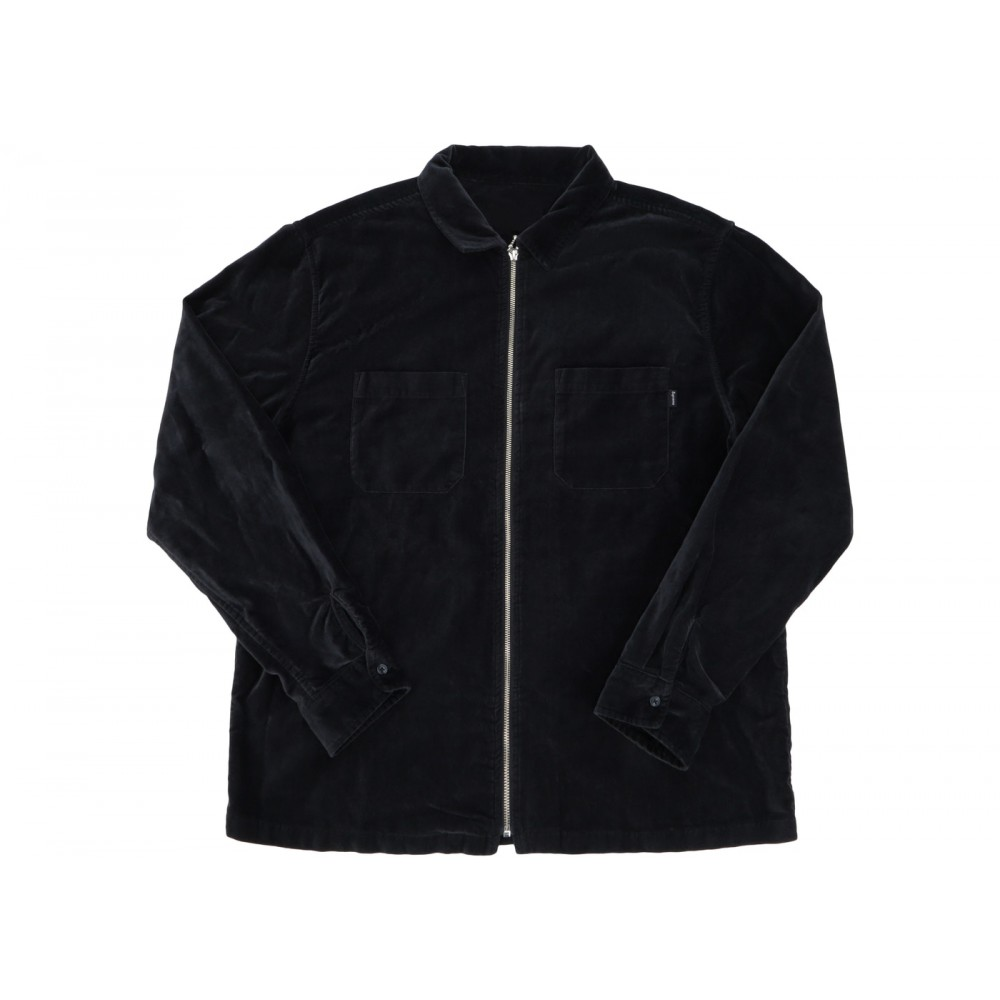FW18 Supreme Velvet Zip Up Shirt Dusty Black
