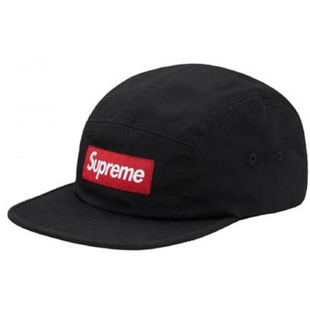 FW18 Supreme Washed Chino Twill Camp Cap Black