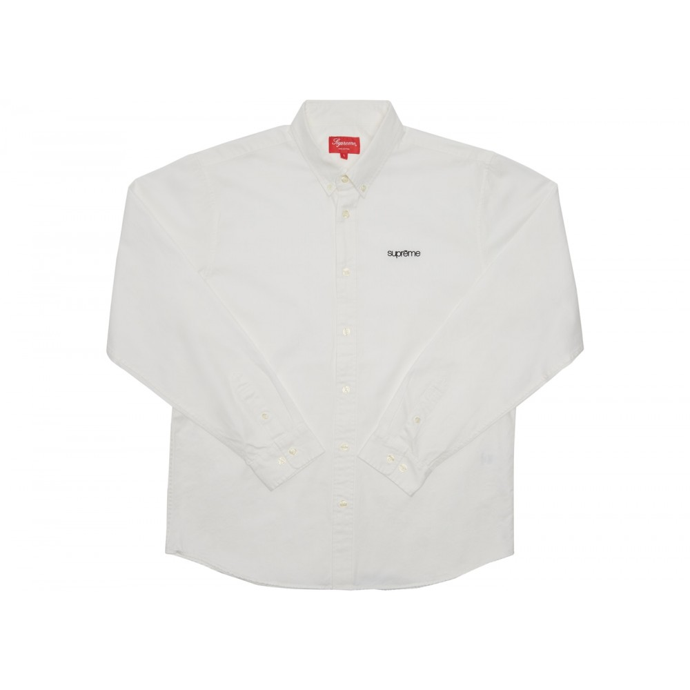FW18 Supreme Washed Twill Shirt White